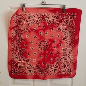 "Red paisley hand dyed custom bandana 21"" new"